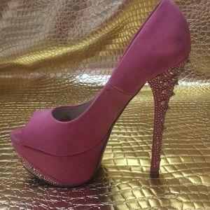 Shoedazzle Pink Studded Pumps